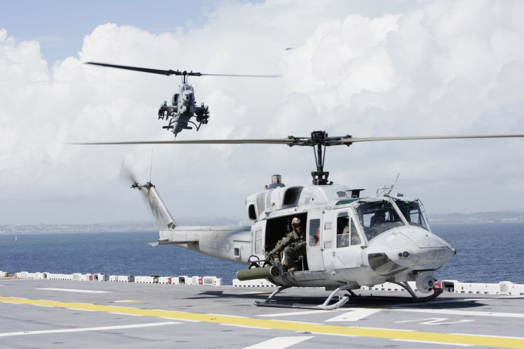 Image: U.S.M.C. UH-1N Huey and an AH-1W Super Cobra Helicopter
